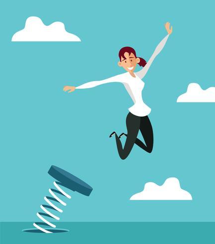 Woman Jumping Springboard