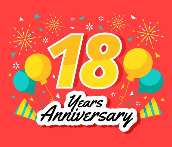 18 Years Anniversary Vector