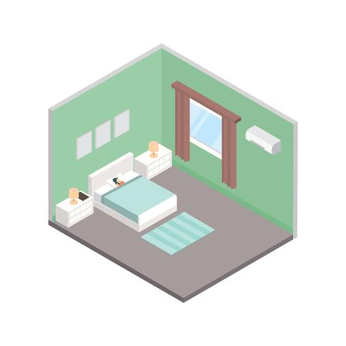 bedtime isometrisk fri vektor
