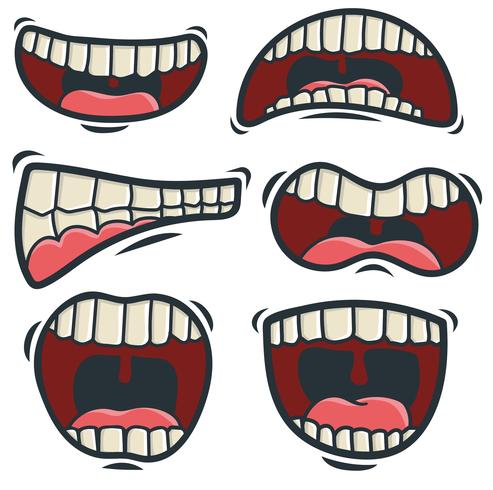 Vektor Set Of Cartoon Mouth