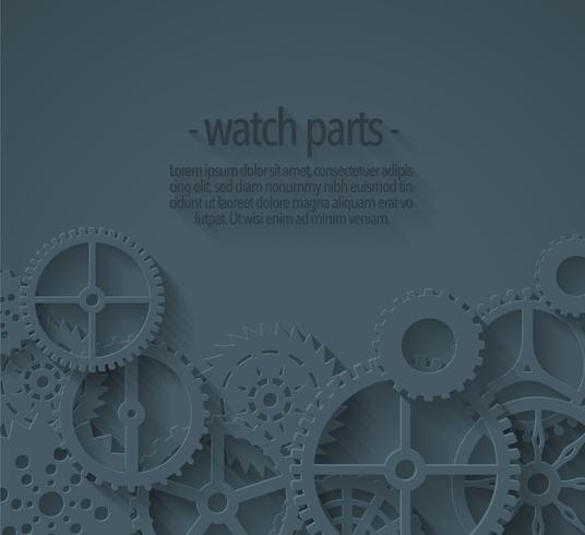 Vector Background With Flat Watch Parts Template