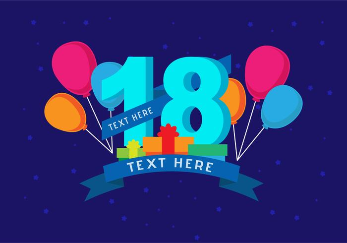 18th birthday background   download free vector art stock