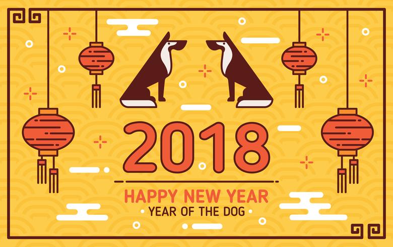 Nouvel an chinois du fond de chien
