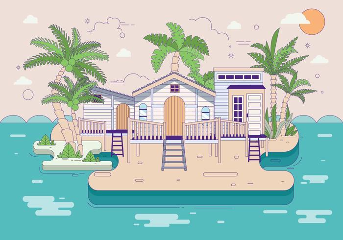 Palmier op het strand Vector