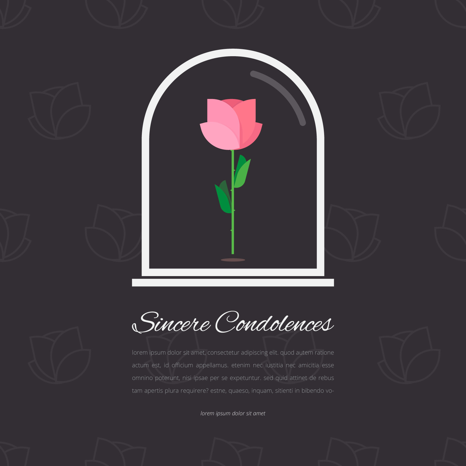 Condolence free vector art 998 free downloads elegant funeral card with rose in glass editable template greetings illustration kristyandbryce Images