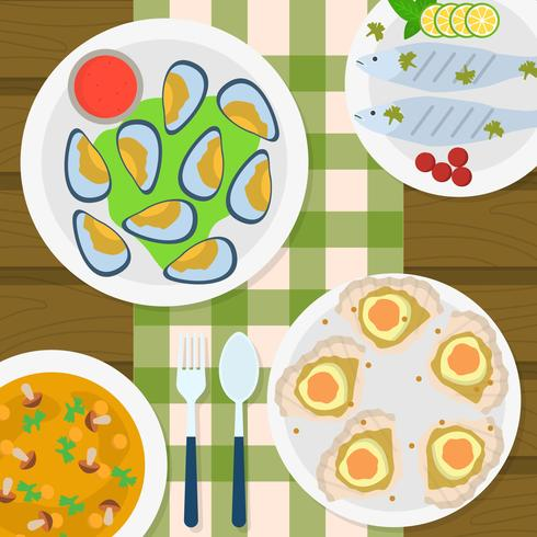 Flat Top View Scallops and seafood cuisine Vector Illustration