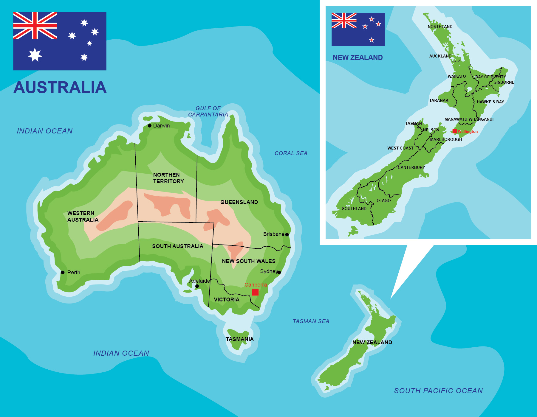 Australia To New Zealand Map.Australia New Zealand Map Free Vector Art 20173 Free Downloads