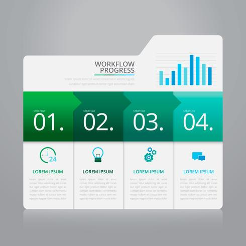 Vektor-Infographik-Index-Papier mit weißer Hintergrund-Schablone.