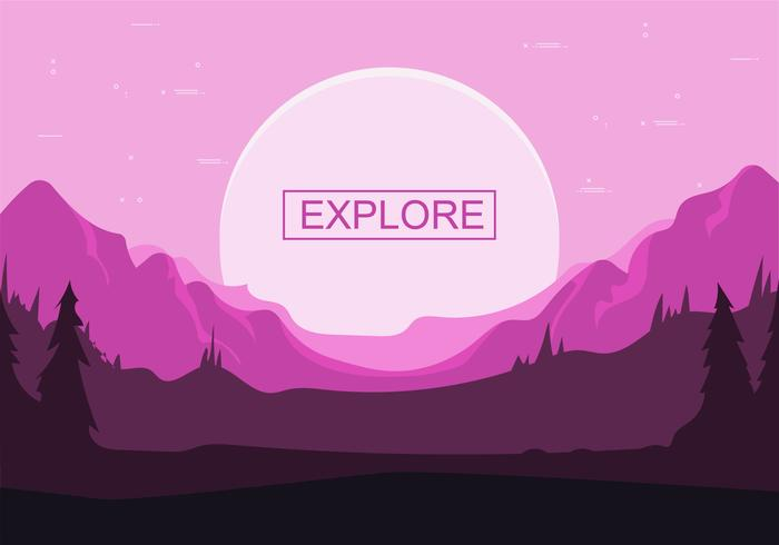 Frihanddragen Vector Nightscape Illustration