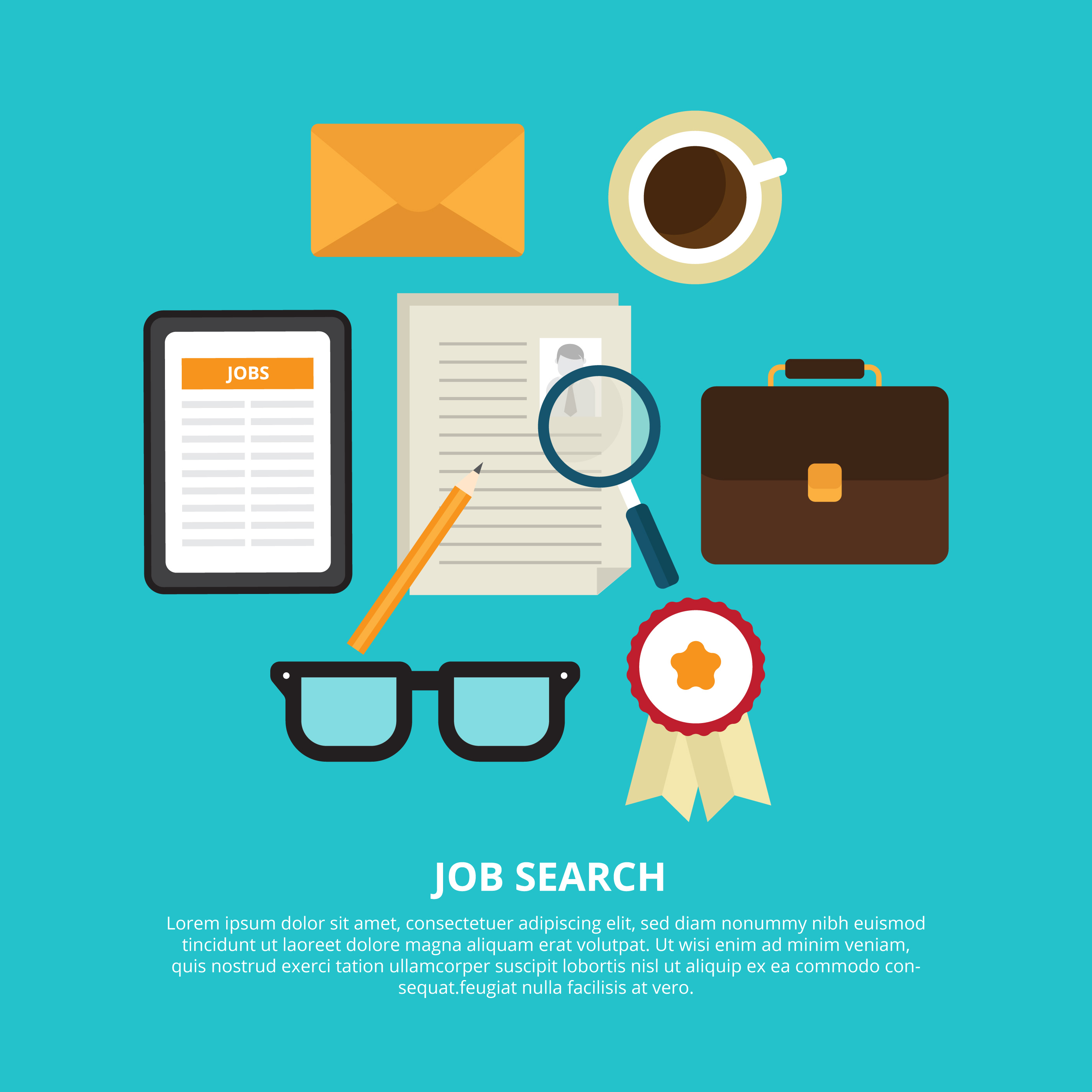 Friendly Find For Your Job Search: Job Search Vector Illustration