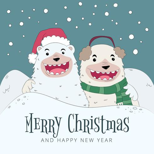 Bear Smiling Wearing Christmas Clothes With Winter Scene