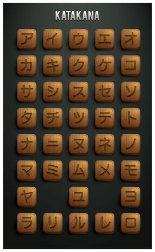 Vecteur de lettre japonaise Katakana en bois gratuit