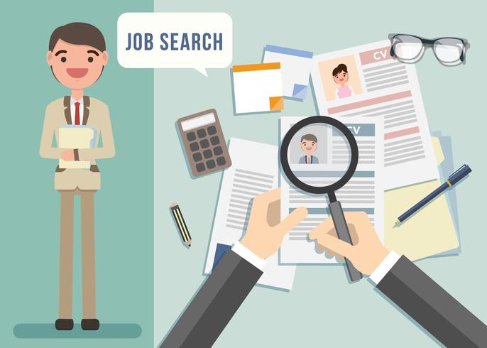 Job Search Character Illustration Vector