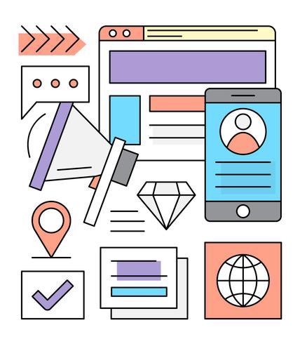 Icônes de marketing linéaire gratuit