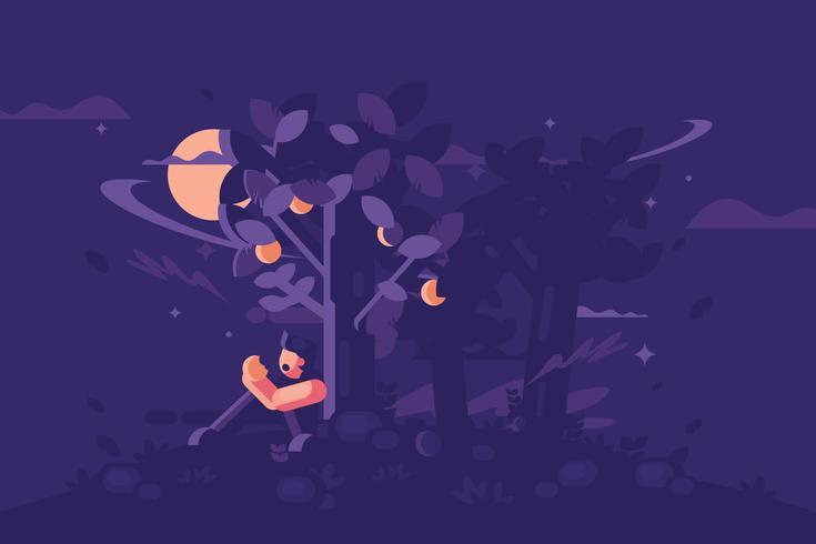 Vila under ett persikaträ på nattillustrationen