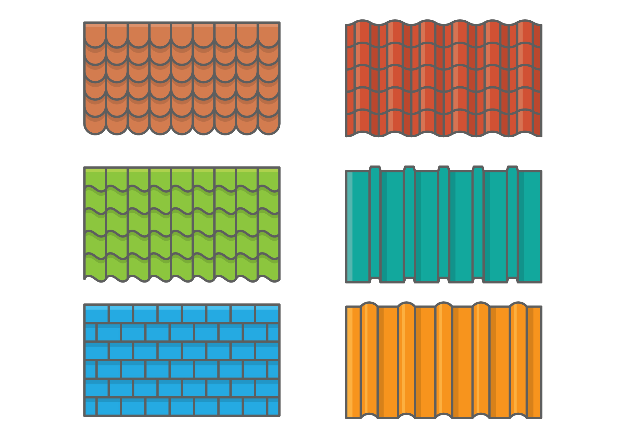 Roof Tiles Set Download Free Vector Art Stock Graphics