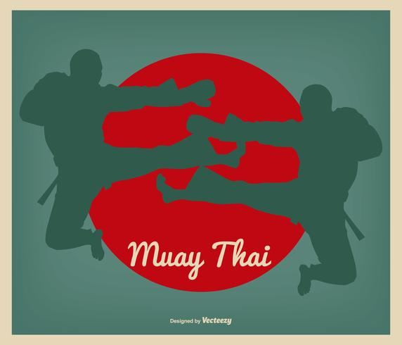 retro muay Thaise illustratie