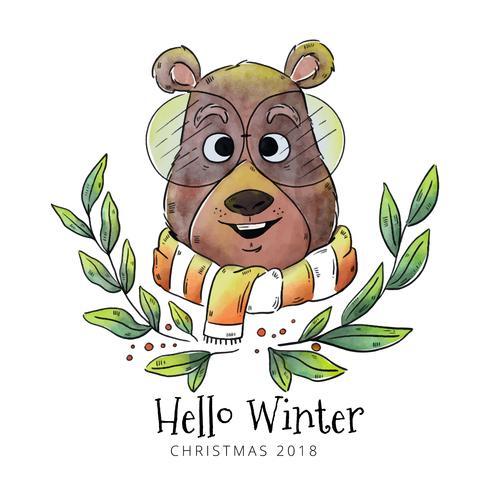 Hello Winter Bear Vector