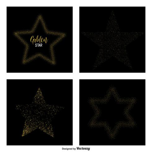 Gold Glittering Star Dust Vector Stjärnor