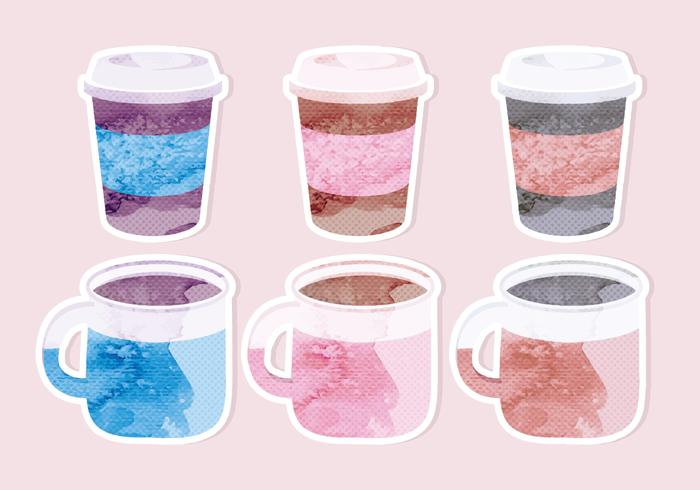 Vector pintado tazas de café pegatinas