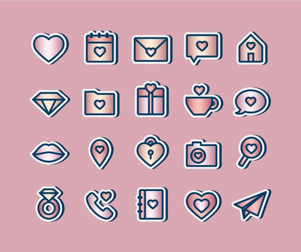 Vector Love Metalic pictogrammen