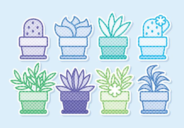 Vector Potted Flowers Sticker Collection
