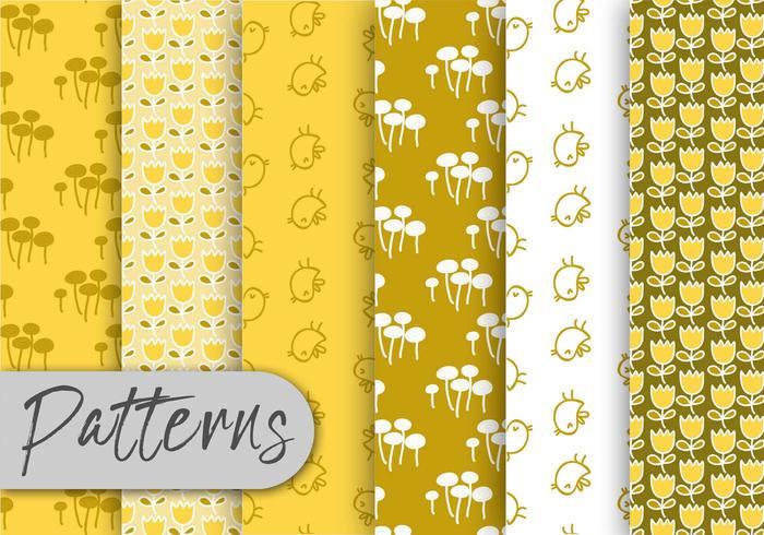 Yellow Flora Pattern Set