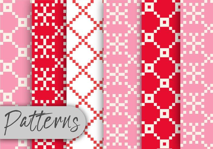 Red and Pink Pixel Pattern Set