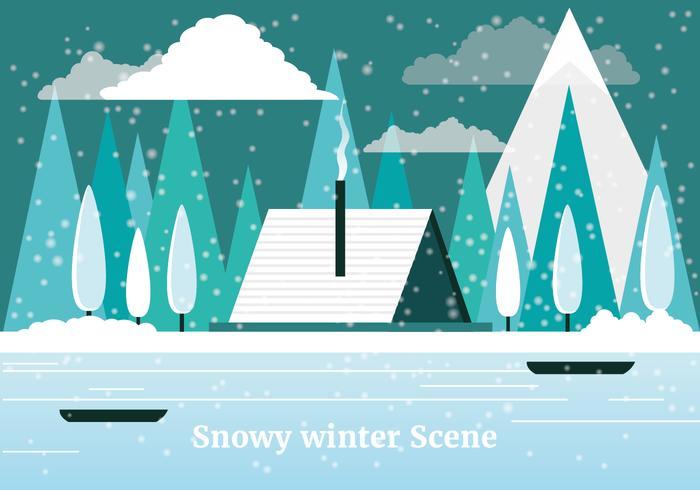 Gratis platte ontwerp Vector winterlandschap
