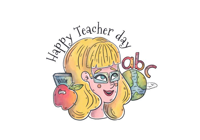 Watercolor Teacher Woman Character With World, Abc\'s And World To Teacher Day
