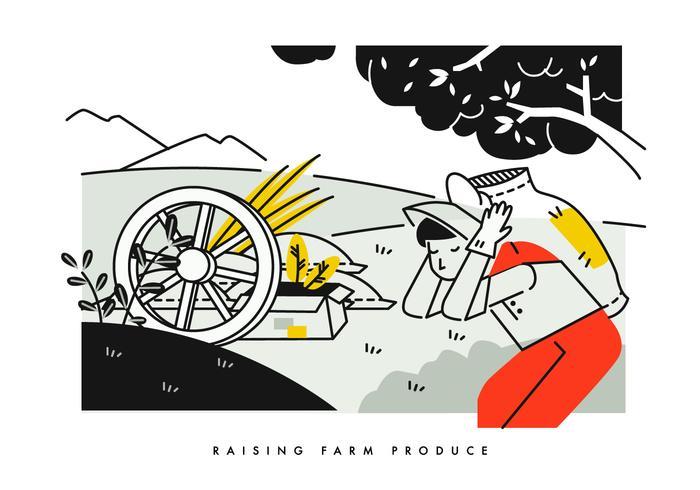 Peasant Carrying Harvest Sack Background Vector Illustration