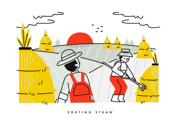 Campesino acumulando ilustración vectorial de paja