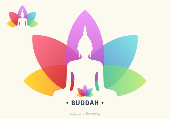 Buddah Silhouette On Colorful Lotus Flower Vector