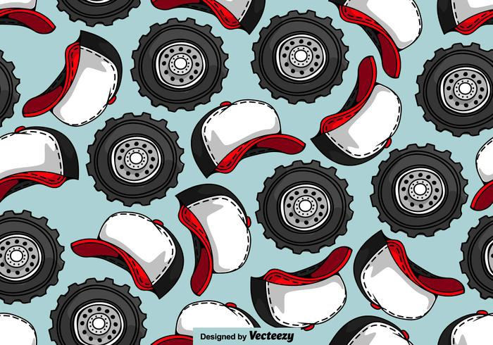 Trucker Hat And Truck Wheel SEAMLESS Pattern - Vector