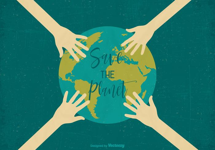 Save The Planet Retro Vector Earth Day Poster