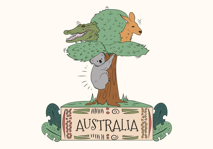 Australian Cute Wild Animals in Tree Vector