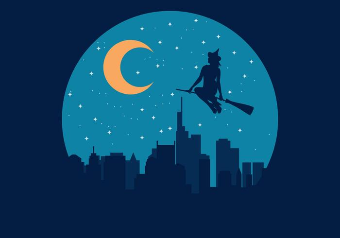 Heks Befana Flying Over The City Illustratie
