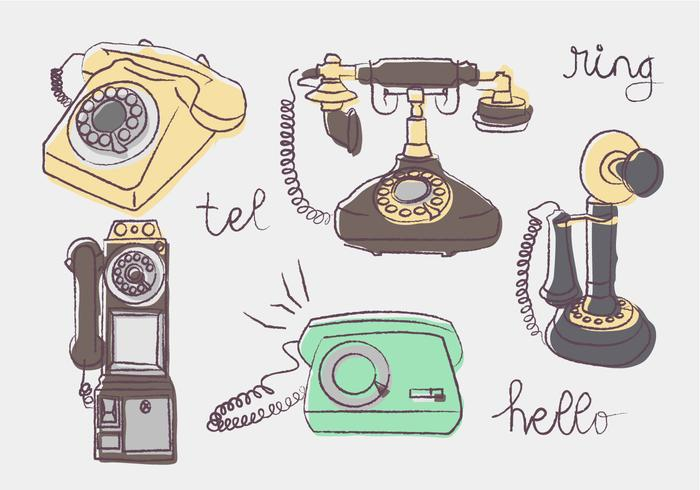 Vintage Telefon Doodle Vector illustration