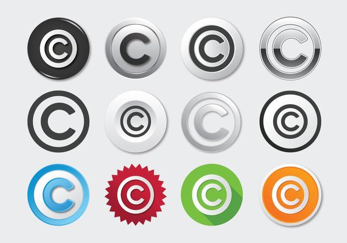 Set van auteursrecht pictogram
