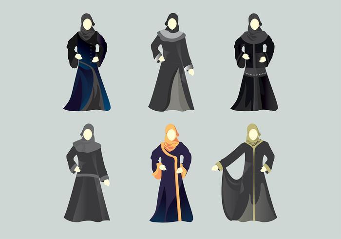 Ilustración Abaya Muslim Model Vector