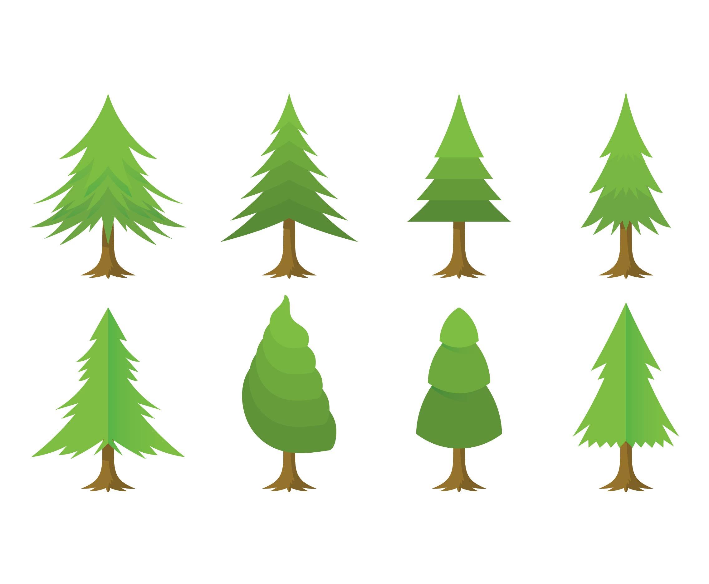 Conjunto De Vectores De árbol De Navidad De Dibujos