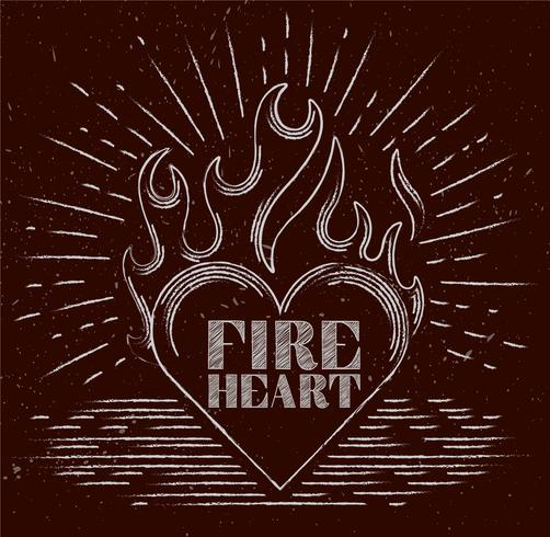 Vector Hand Drawn Flaming Heart