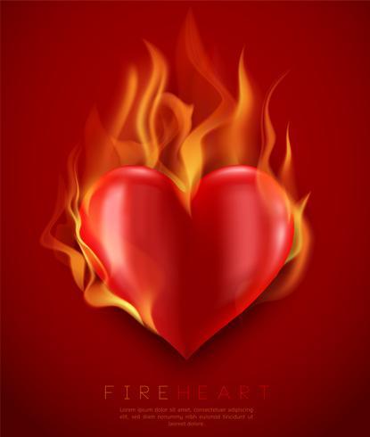 Vector Flaming Heart Illustration
