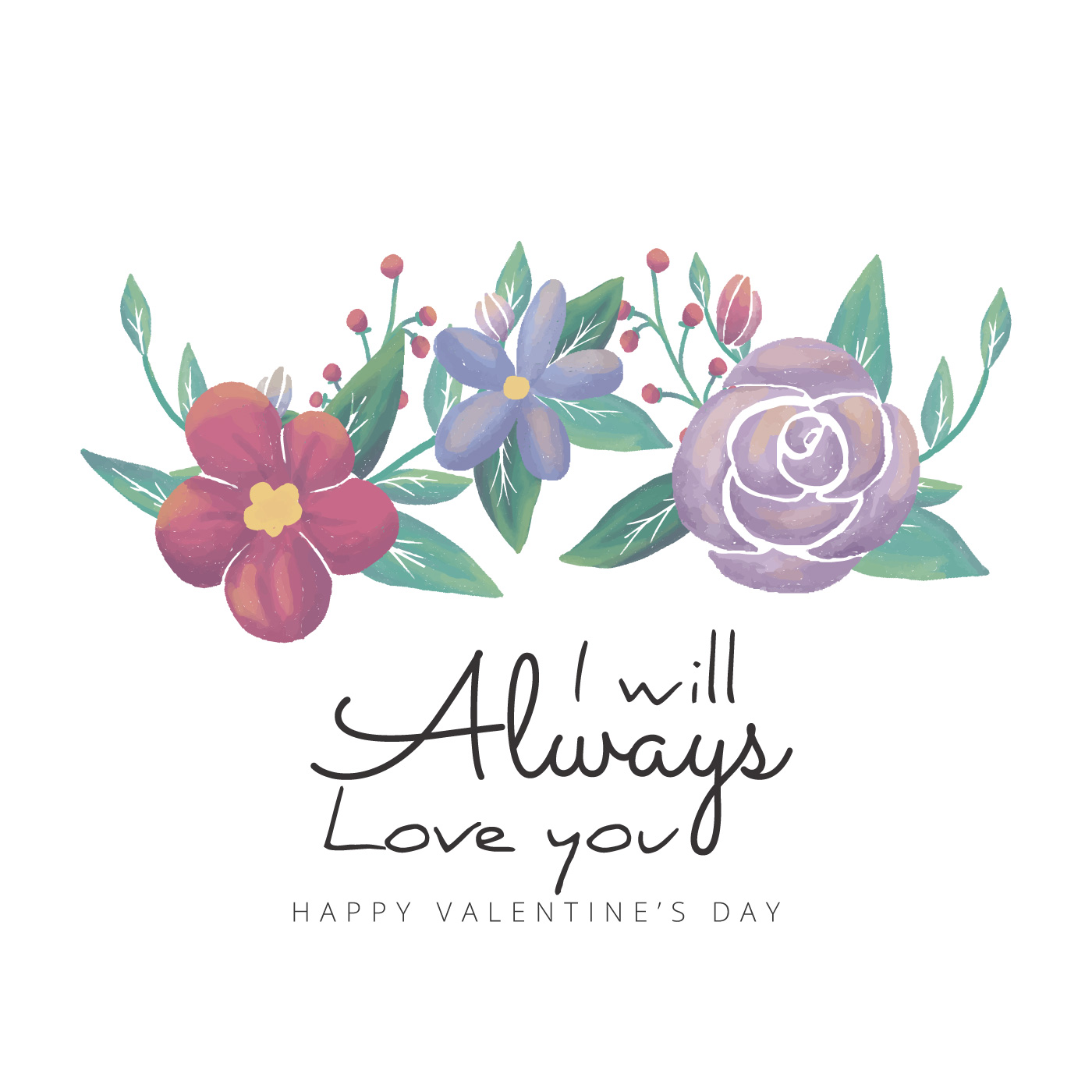 Cute Background Flowers And Leaves With Valentine's Quote