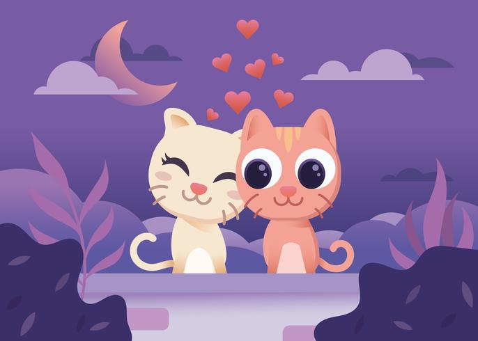 gatti carini che si innamorano vettore
