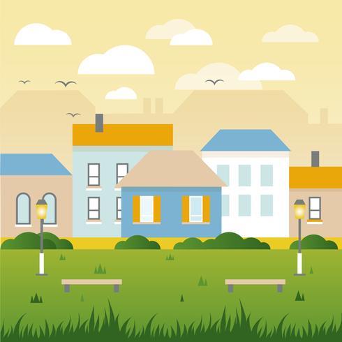 Vacker vår vektor landskaps illustration