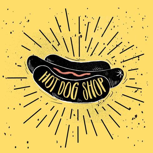 Hand Drawn Vector Hot-Dog Illustration