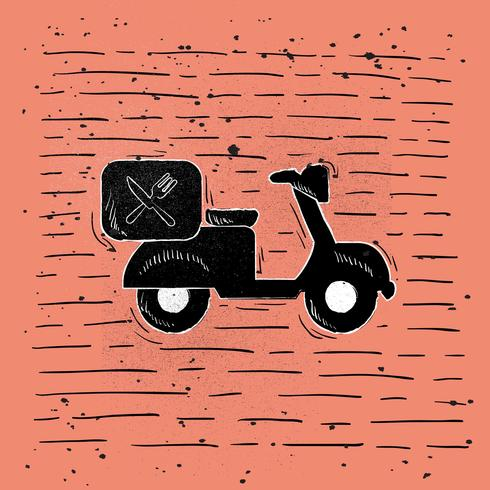 Hand Drawn Vector Moped Illustration