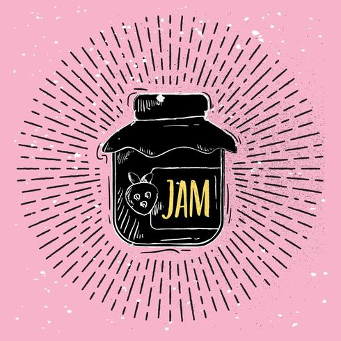 Hand getrokken Vector Jam Jar Illustration