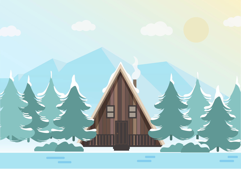 Landscape Illustration Vector Free: Beautiful Vector Winter Landscape Illustration